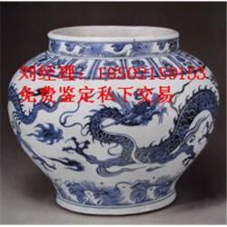 安徽元青花双凤纹荷叶盖罐交易市场