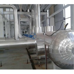 高温管道保温工程耐火硅酸铝毯彩钢板保温施工